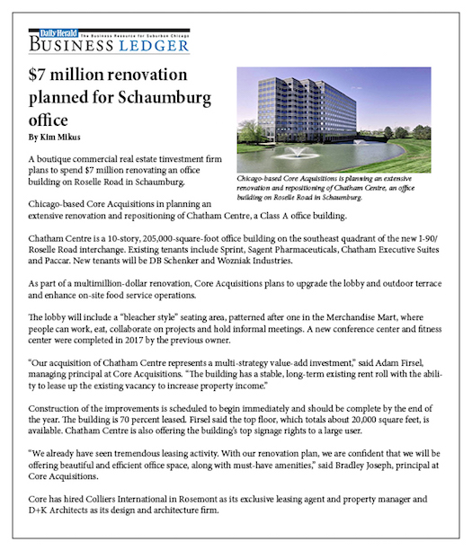 Daily Herald: Schaumburg Office Acquisition