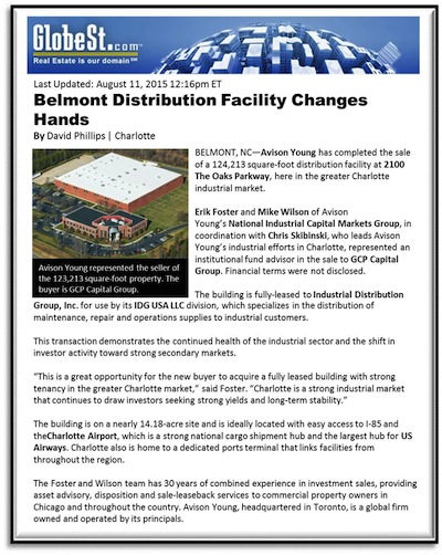 Belmont Distribution Facility Changes Hands