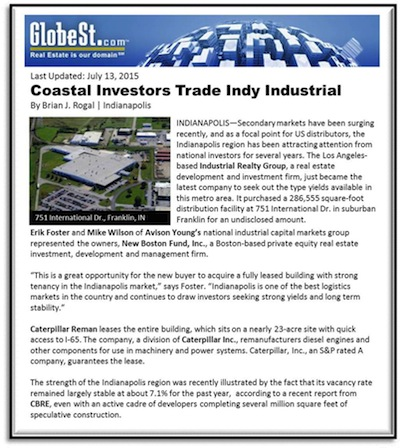 Coastal Investors Trade Indianapolis Industrial