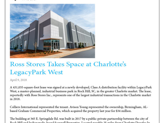 Avison Young Leases Charlotte Industrial Space