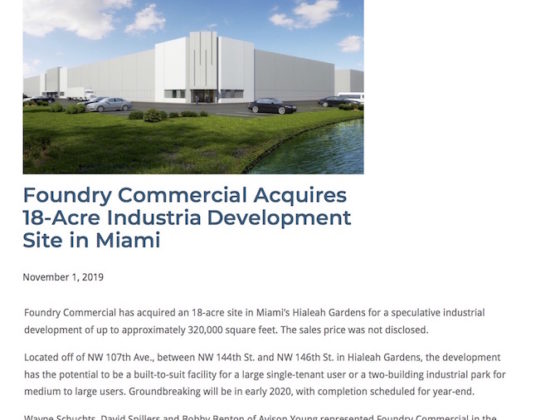 Avison Young Miami Completes 18-Acre Industrial Deal