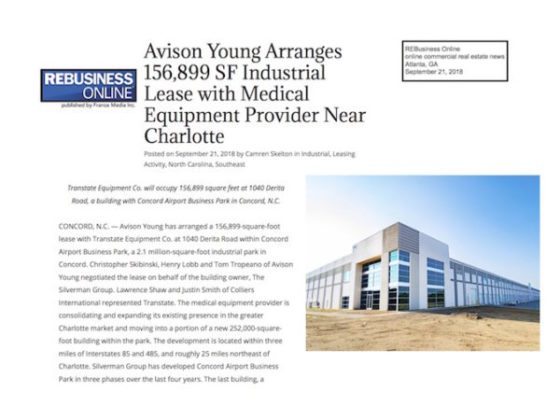 Avison Young Charlotte Medical Equipment Provider Lease